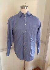 Kenneth Roberts Plat Men's 15 1/2 34/35 Blue Stripe Pocket Button Long Sleeve
