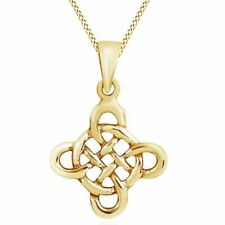 Fashionable Celtic Knot Cross 14K Yellow Gold Over Pendant Necklace