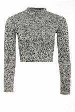 NEW WOMEN LADIES LONG SLEEVE KNITTED MARL GRAY TURTLE  NECK  TOP JUMPER