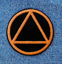 Alcoholics Anonymous Symbol Biker Motorcycle Patch by DIXIEFARMER - in Orange