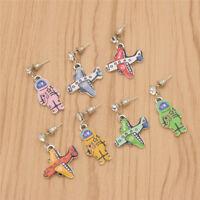 Women Cartoon Plane Astronaut Earrings Alloy Dangle Ear Studs Fashion Jewelry