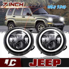 "For Jeep Liberty Patriot CJ5/7 7""LED Halo Angel Eyes Headlight H4-H13 H6024 Lamp"
