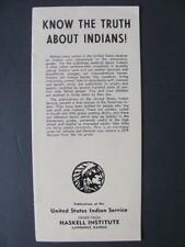 "1946 ""Know The Truth About Indians!"" US Indian Service Brochure Native American"