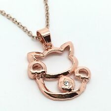 Rose Gold Plt Cute Cat Necklace Pendant with crystal - ladies Girls gift
