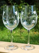 2 Schöne Weingläser mit pers Namensgravur Geschenkidee HANDGESCHLIFFEN