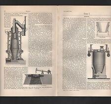 Lithografie 1909: Eisen. Eisengießerei. Giesserei Koks-Hoch-Ofen Thoneisen