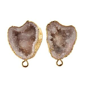 For Girls Off-White Geode Druzy Yellow Gold Plated DIY Stud Earrings Connector