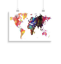 World map, print, poster, wall art, gift, art, Watercolour, Travel, home decor