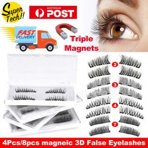 Magnetic Eyelashes With 3 Magnets Handmade 3D Natural False Lashes & Tweezer