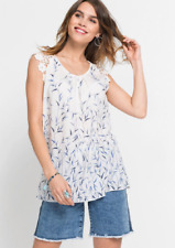 Rainbow White Blue Printed Crochet Floral Tunic Top Size 14 NEW