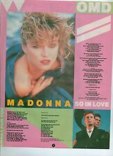 MADONNA Crazy For You lyrics magazine PHOTO / Pin Up / Poster 11x8 inches