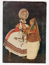 KERALA (INDE) DANSEUR & DANSEUSE KATHAKALI costumés , voyagée période 1950