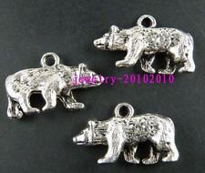 20pcs Tibetan Silver 3D Bear Charm Pendants 24x15mm 9384