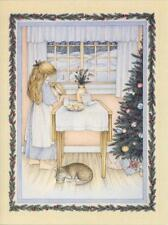 VINTAGE CHRISTMAS BLONDE GIRL CAT COUNTRY HOUSE WINTER SNOW COOKIES MILK CARD
