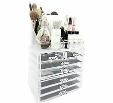 Unique Home Acrylic Jewelry & Cosmetic Storage Makeup Organizer Crystal Clear