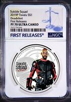 2019 Suicide Squad - Deadshot Proof $1 1oz Silver COIN NGC PF 70 FR