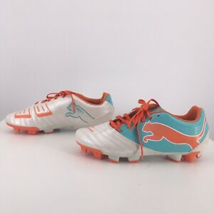 Puma PowerCat Womens Leather Soccer Cleats Football Shoes Firm-Ground White
