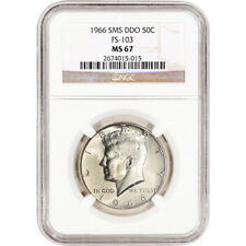 1966 SMS US Kennedy Silver Half Dollar 50C - DDO Double Die Obverse - NGC MS67