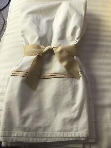 Veratex Medallion Metallic Embroidered White Cotton Classy Shower Curtain/liner