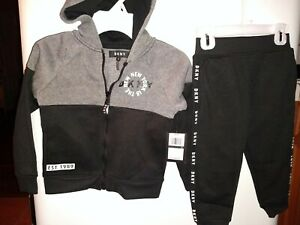 DKNY Boys 2PC Set Hoodie & Jogger pant Size 4, 5, 6, 7 Yrs Multicolor gray/black