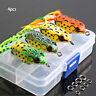 4pcs/set Large Frog Topwater Fishing Lure Crankbait Hooks Bass Bait Tackle one