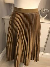 H&M Gold Sheer Satin A-line Midi Pleated Skirt  Size M 12-14