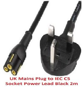 Genuine brand C5 CLOVERLEAF 3 PIN MAINS CABLE CLOVER LEAF  LEAD POWER CORD 2M UK