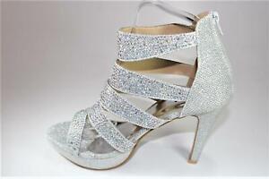New Womens Silver Glitter zip Stiletto High Heel Concealed Platform Court Shoes