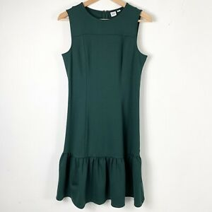 Gap 4 Dress Sleeveless Shift Flare Hem Emerald Green Knee Length Womens NEW