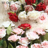 Fake Artificial Silk Roses Pink Flowers Bridal Wedding Bouquet Home Party Decor