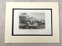 1854 Antique Engraving Print Red Water Slavery Slave Trade Guinea Tribal Custom