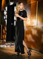 Black with a Sequin Bodice Split Skirt Evening Dress size 16 NEW