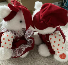 Vintage Ganz White Plush Teddy Kissing Bears With Tag Hearts