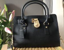 Beautiful Michael Kors Saffiano Leather Black Hamilton Medium Tote Bag Handbag