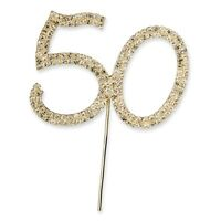 50th 50 GOLD DIAMANTE RHINESTONE CRYSTAL NUMBER PICKS Birthdays or Anniversaries