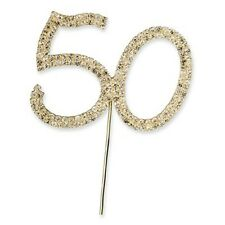 Diamante 50th 50 Gold Rhinestone Crystal Number Picks Anniversary Birthday