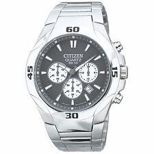 Citizen Quartz Men's AN8020-51H Chronograph Grey Dial Silver Tone Bracelet Watch