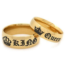 Stainless Steel HIS QUEEN and HER KING Couple Rings Lovers Jewelry Gifts 2Color