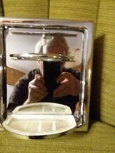 MID CENTURY  RECESSED CHROME CONCEALED BATHROOM TOOTH BRUSH HOLDER SOAP DISH CUP