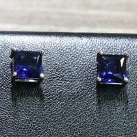 1Ct Princess Cut Blue Sapphire Earrings Women Engagement Jewelry 14K White Gold