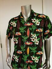 Vintage Tropical Woody Print Rayon Camp Shirt Hawaiian