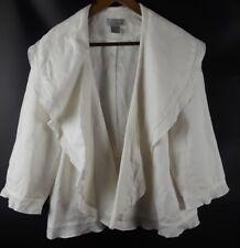 Spiegel Linen Short Blazer Jacket Open Front White Dressy Ruffle Plus Sz 18W