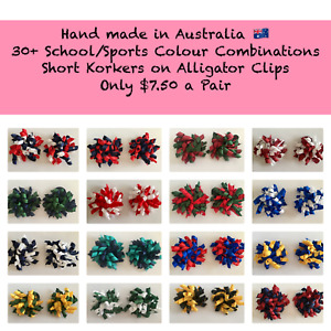 School Colours Korker Hair Clips 30+ Colours available Plus Custom Colours
