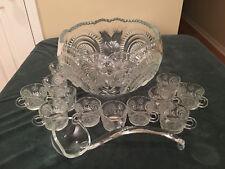 Slewed Horseshoe Punch Bowl Set 12 Cups + Ladle