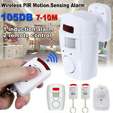 SENSOR MOTION PIR WIRELESS ALARM WITH 2 REMOTE CONTROLS SHED GARAGE HOME CARAVAN