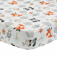 Bedtime Originals Woodland Friends Fox/Owl/Raccoon Fitted Crib Sheet - White
