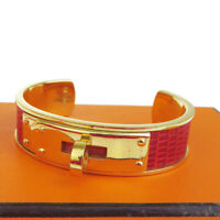Authentic HERMES Kelly Motif Bangle Bracelet Lizard Leather Red Gold 61EP341
