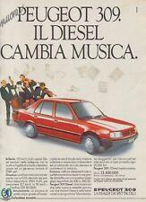 X3142 Automobile PEUGEOT 309 Diesel - Pubblicità d'epoca - 1986 old advertising