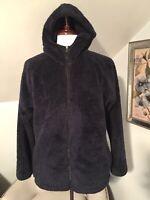 Ideology Plush Jacket 2XL Navy Full Zip Hooded Outerwear Womens