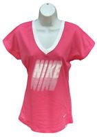 New NIKE Just Do It Womens DriFit Cotton Tee Shirt Pink S